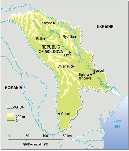 Moldova, topographic map | GRID-Arendal