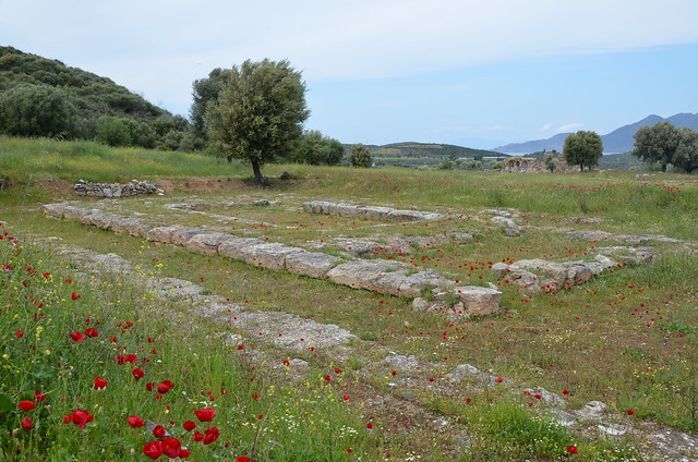 The ruins of the 4th century BC Temple of Hippolytus (son of Theseus) at Troezen, Argolid, Greece