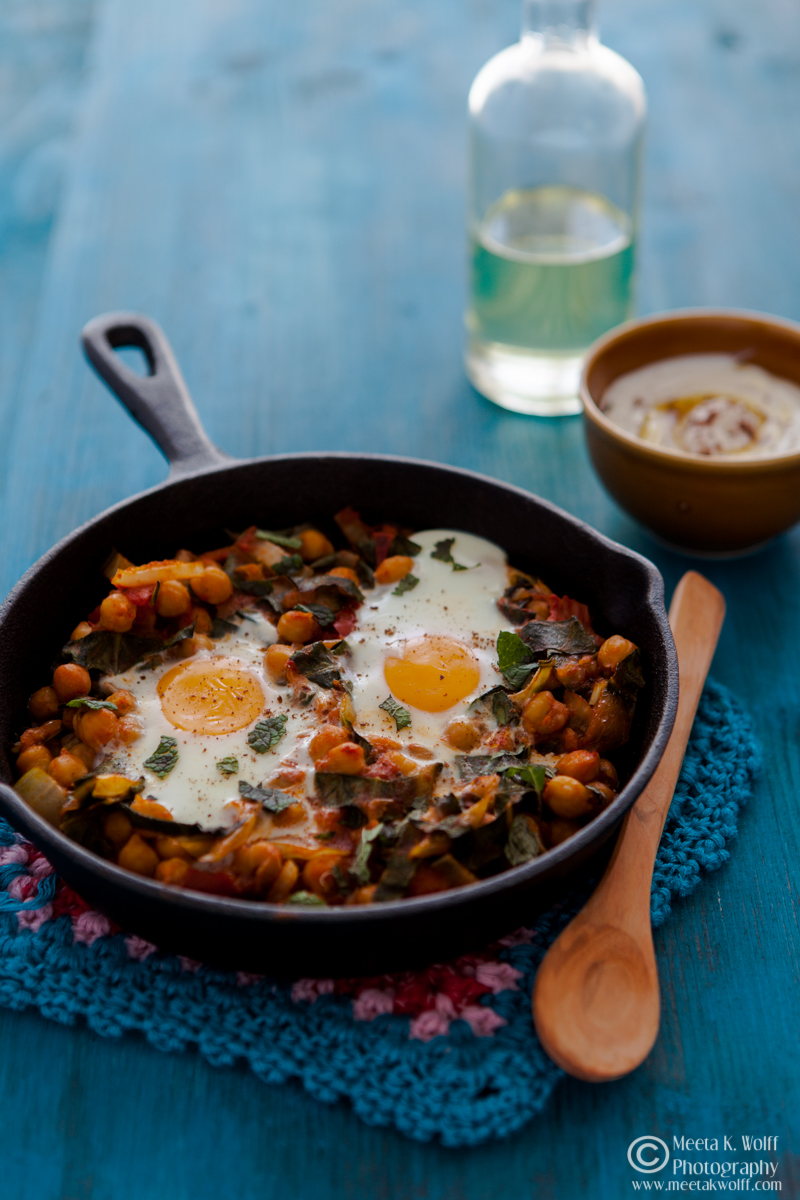Baked Spiced Chickpeas and Chard with Eggs -0183