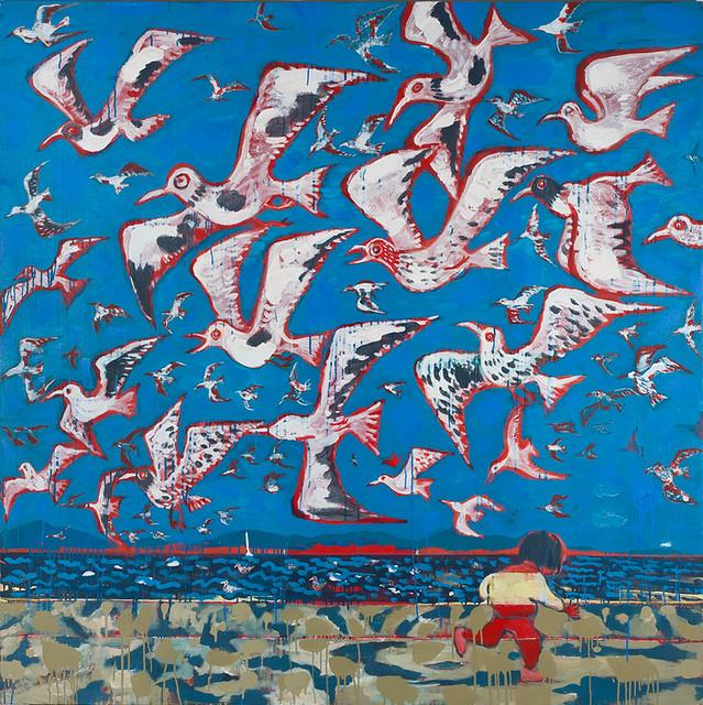毛旭辉-昆明组画•海埂大坝的红嘴鸥-195×195cm-布面油彩、丙烯-2012