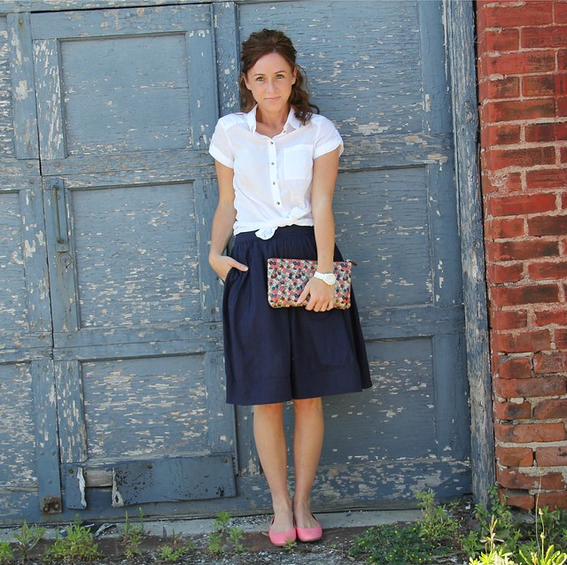 white blouse styled via Kristina J. blog