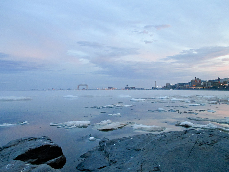 Duluth Harbor with Ice Chunks