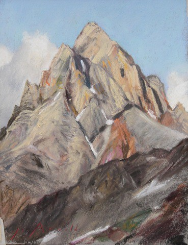 This pastel, 9 x 12 in. was done from Hurricane Pass on the west side of the Tetons. The fierce aspect of the Grand presented from that side is what the Langford party encountered in 1872. A branch of the Hayden survey, they were camped in Teton Canyon when they decided to make for the summit of the Grand and left with a party of 14, passing near Hurricane Pass. Only two of the original party remained when they reached the summit, and their summit claim has been disputed right up to this day.