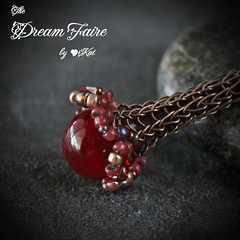 Red Faerie Flower Necklace Closeup