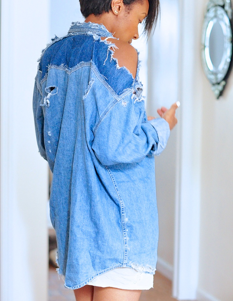16fc4162a8 So one bored morning I destroyed a denim shirt.Here s how to destroy yours.