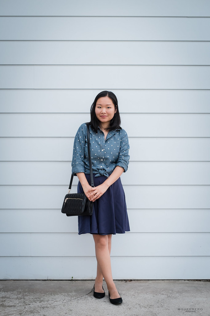 Polka dot chambray shirt navy skirt 02