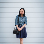 chambray top with polka dots