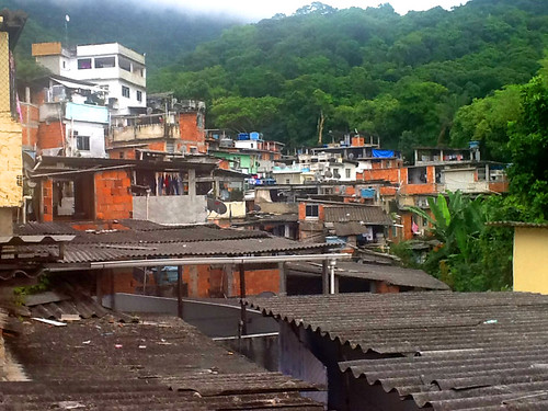 Favelas area with forest in the background