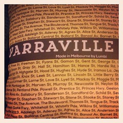 They sell cushions of Melbourne suburbs and for each with all the street names. Yarraville - I spot my street! #melbourneshop #emporium #epic #decor #home
