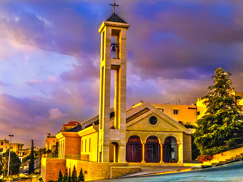 sunset sky lebanon church night exposure catholic سعد maronite جبيل بول لاسا قرطبا kfaryaseen paulsaad