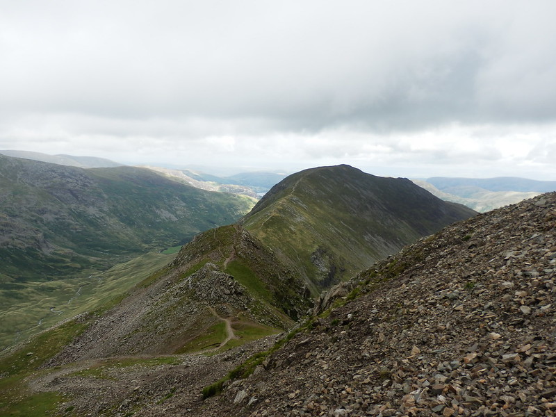 P8134941-Looking down from Fairfield over Cofa Pike to St Sunday Crag