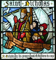 St Nicholas by his prayers maketh the storm to cease