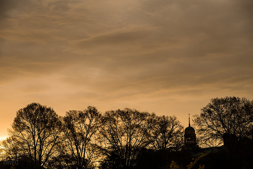 Library cupola at sunset