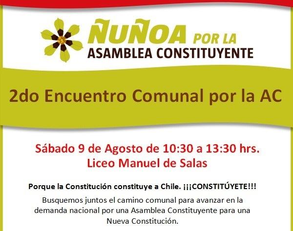Convocan Encuentro Comunal de Ñuñoa por la Asamblea Constituyente.