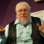 George R R Martin on stage at the Edinburgh International Book Festival |