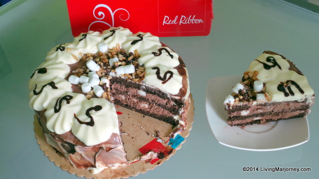 Red Ribbon Rocky Road Cake