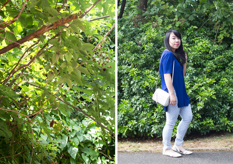 Monki tee, tile jeans and trees