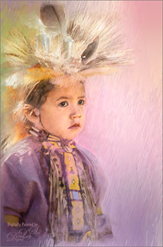 Image of a small girl in her Native American Costume