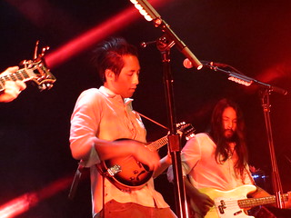 Steven Chen of The Airborne Toxic Event unleashes his mad mandolin skills - Fillmore Night 3. Photo by Julie.