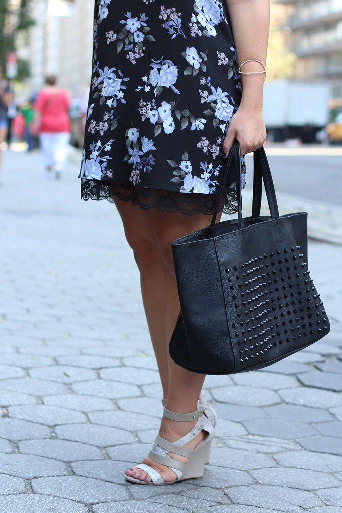 Fall Floral Slip Dress | Aeropostale Studded Tote | #NYFW | Outfit | #LivingAfterMidnite