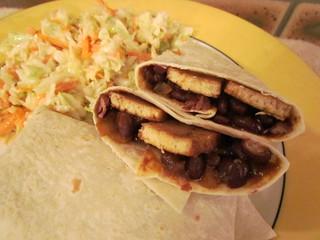 Barbecued Black Bean and Tofu Burritos; creamy coleslaw