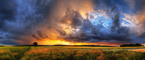sunset sky panorama clouds skyscape scenery colorful wide hdr cloudscape