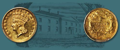Confederate 1861-D gold dollar