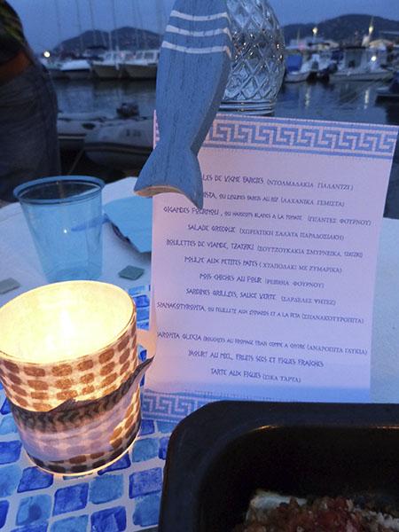menu et lumière