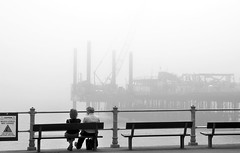 Pier, crane, people