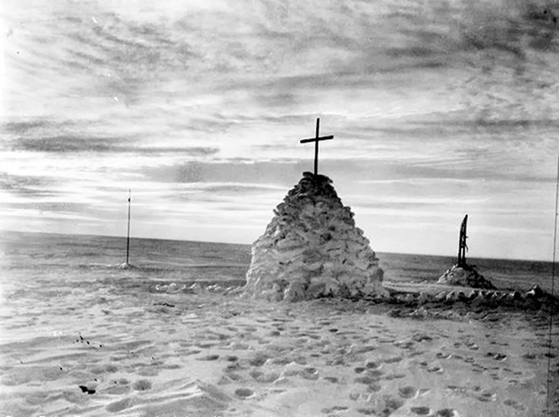 The grave of Robert Falcon Scott, Henry Robertson Bowers and Edward Adrian Wilson