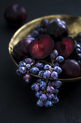 Autumn harvest:grape and plums