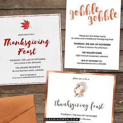 These are some of the Thanksgiving party invitations I designed for @finestationery #thanksgiving #thanksgivingdinner #gobblegobble #thanksgivingfeast
