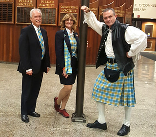 Mon, 11/14/2016 - 20:28 - Three GCC professors presenting the GCC Tartan to the Board of Trustees on Nov. 14, 2016 are (left to right) professors: Rick Dudkowski, Donna Ehrhart and Tracy Ford.