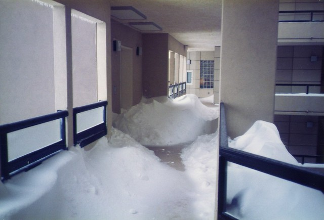 Seven stories up in a condo in Songhees, open halls filled with snow. Photo Kevin Lintern