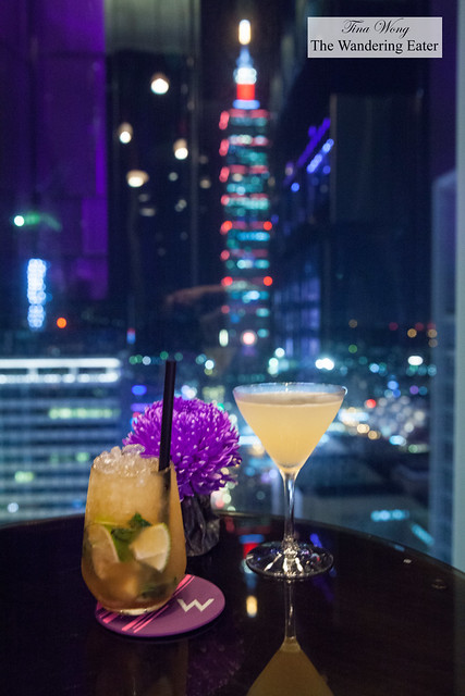 Drinks at the YEN Bar with a view of Taipei 101 at night