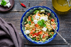 Tabbouleh with soft white cheese