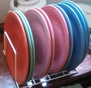 Fiestaware dinner plates in their new stacker