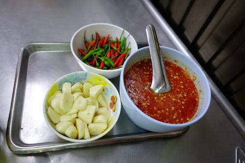 Condiments at SabX2 Wanton Noodles