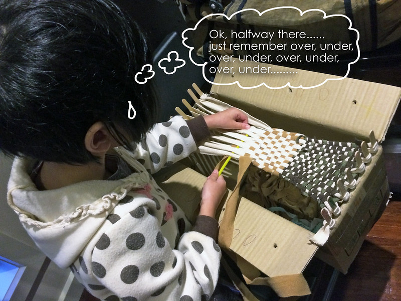 Pinkxi with her DIY loom
