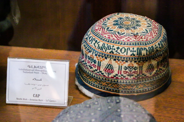 Old Armenian cap in the museum of Vank Cathedral, Isfahan, Iran イスファハン、ヴァーンク教会博物館の古いアルメニア製ニット帽