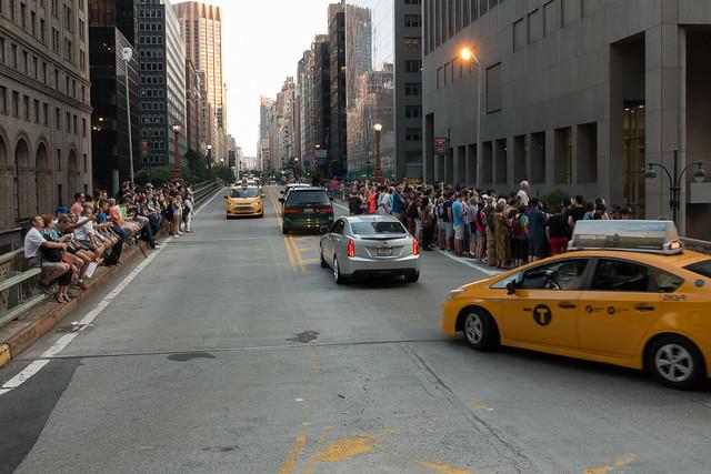 Crowd blocking traffic at Manhattanhenge