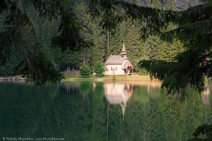 Church reflected at the lake