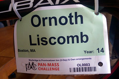 The bike ID tag for Ornoth's 14th & final Pan-Mass Challenge.