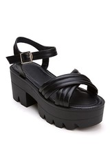 ROMWE Cross Pin Buckled Platform Chunky-heels Black Sandals