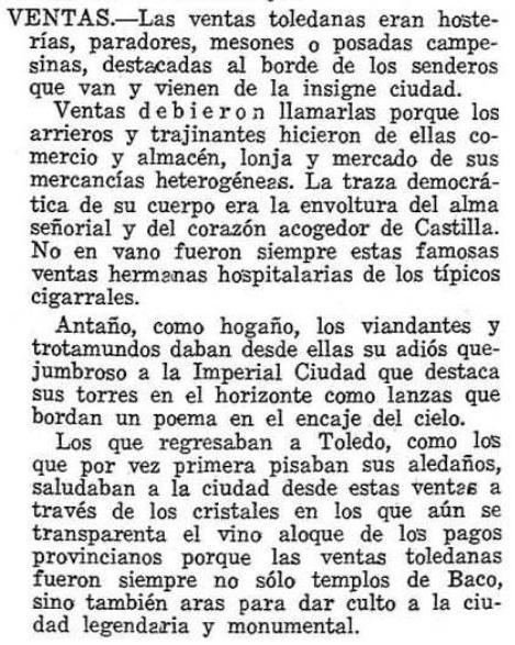 Descripción de las Ventad de Toledo por Luis Moreno Nieto en el diccionario de la provincia de Toledo. Revista provincia 1974 2