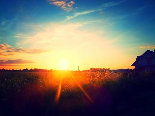 sunset chimney field landscape cereal poland brickyard