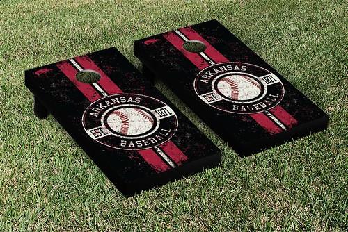 Arkansas Razorbacks Cornhole Game Set Banner Baseball Version