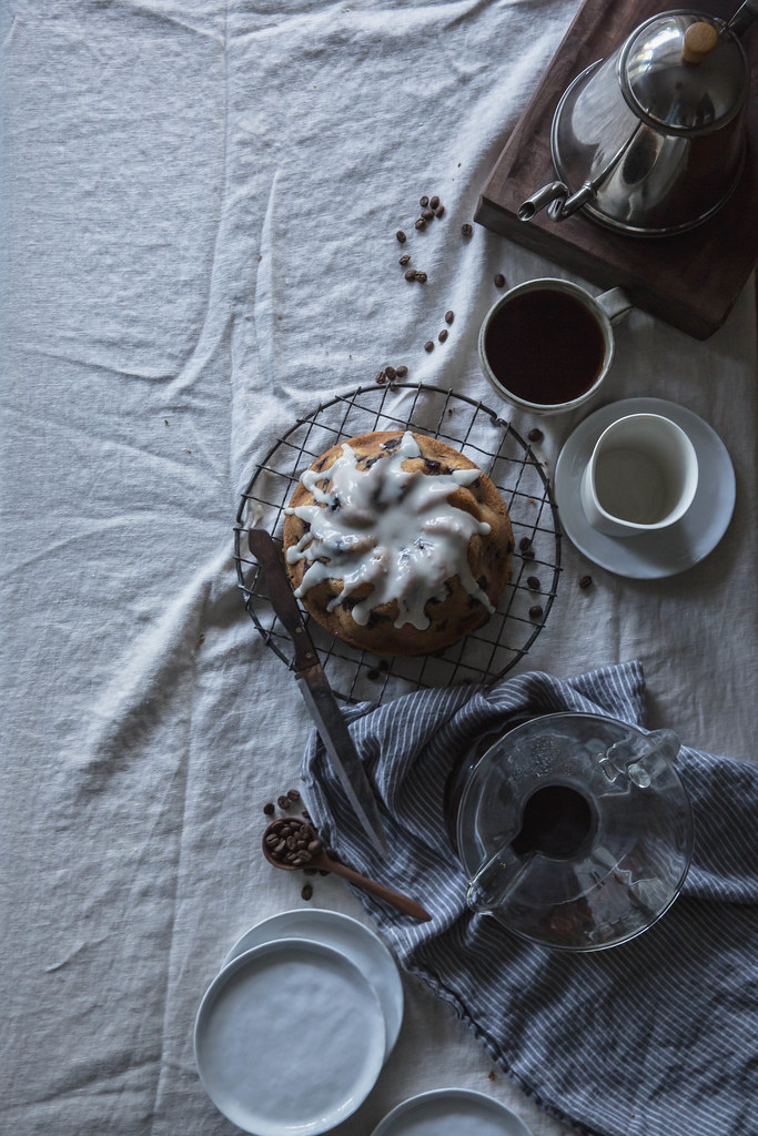 blueberry & rosemary brown butter cake + buttermilk glaze x velo coffee