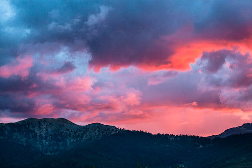 sunset mountain clouds dusk altitude stormy