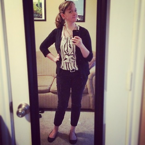 Who doesn't love a free shirt? The top in this #ootd is courtesy of my friend, Keri :) A very monochrome #sharpdressedlady outfit.